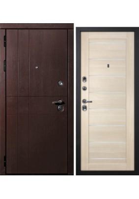 Дверь металлическая С-2 Нар.Шагрень черная/Вн.Техно 708 капучино/2050х860/Правая