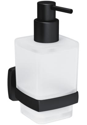 Стеклянный диспенсер для жидкого мыла с настенным держателем, черный A9036922 Gem,